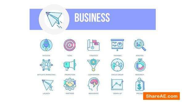 Videohive Business - Filled Outline Animated Icons