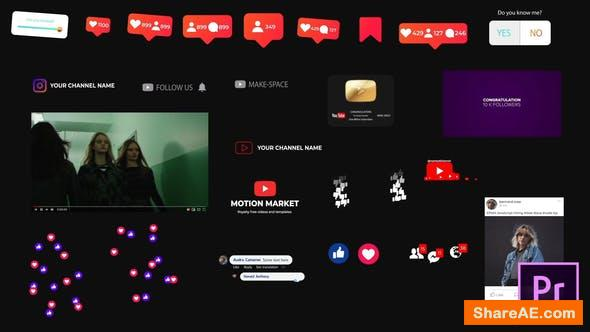 Videohive Social Media Elements - for Premiere Pro | Essential Graphics