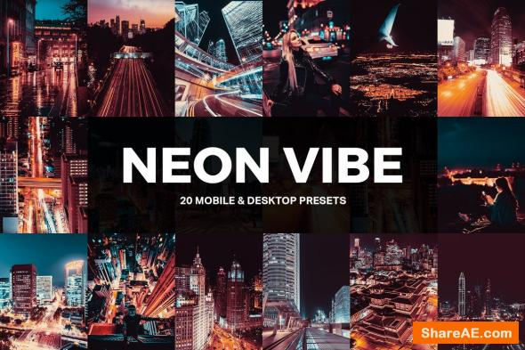 20 Neon Vibe Lightroom Presets and LUTs
