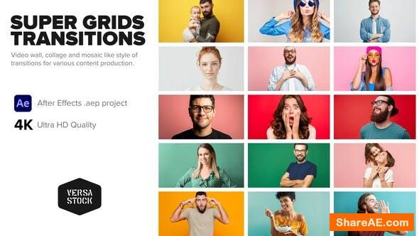 Videohive Super Grid Transitions Video Wall 4K