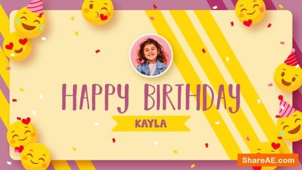 Videohive Emoji Happy Birthday